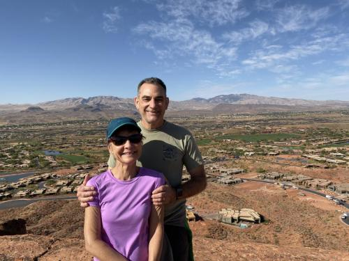 visiting St George and hiking with Kathy Thomas for the views 2019