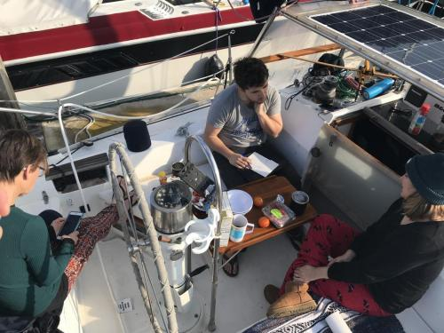 Helping get Tukki ready before Beth and Thomas sailed down to Mexico 2019