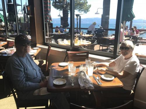 Bob and Dorthy in Lake Tahoe enjoying lunch with Ron 2019