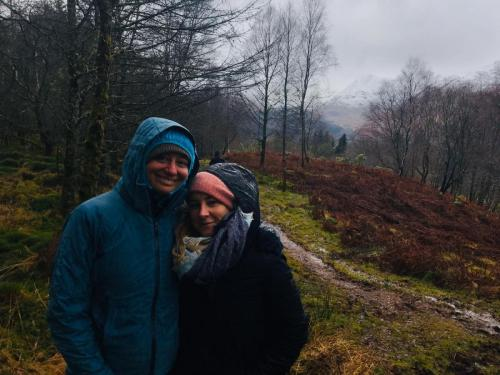 Beth and good friend Marlee in Scotland December 2019